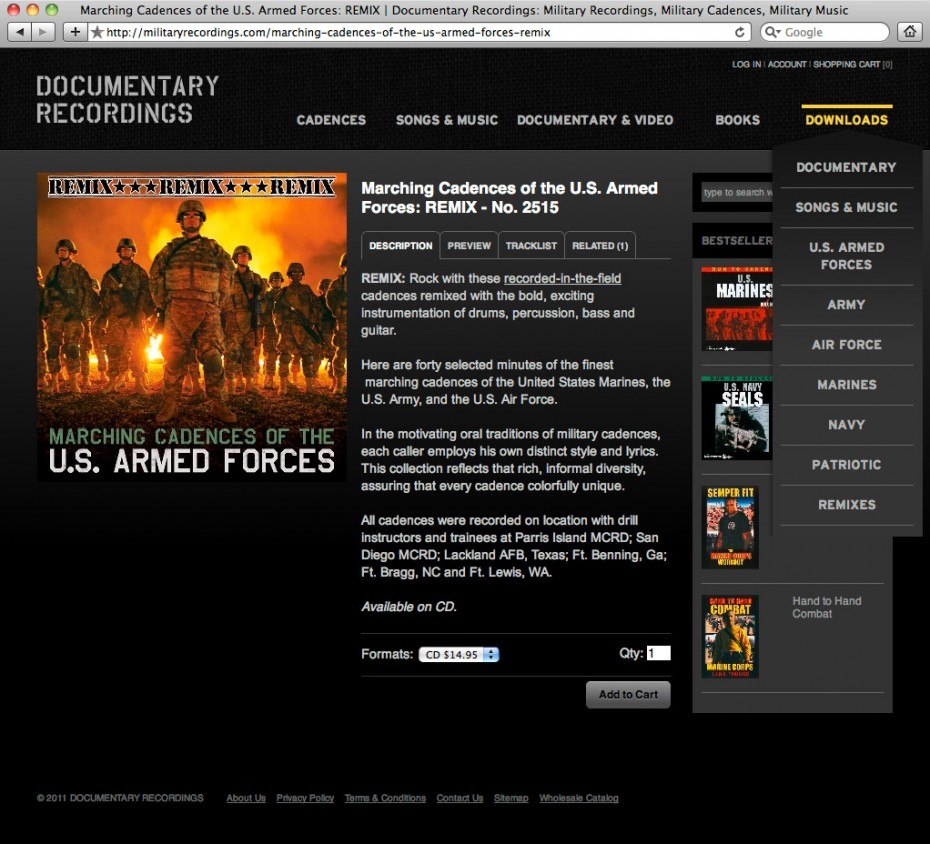militaryrecordings2 930x844 Documentary Recordings Website Redesign and CD Packaging